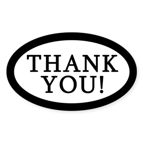 Thank You Tip Jar Sticker Oval Sticker