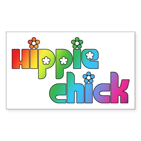 Hippie Chick Rectangle Sticker