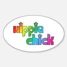 Hippie Chick Oval Decal