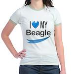 I Love My Beagle Jr. Ringer T-Shirt