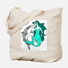 Mermaid and Shark Tote Bag