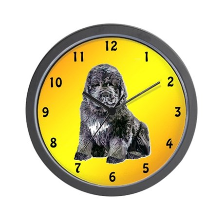newf Pup Wall Clock