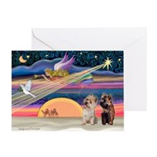 XmasStar/2 Cairn Terriers Greeting Card