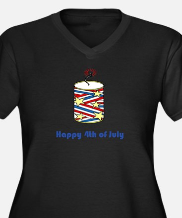 Happy 4th of July Women's Plus Size V-Neck Dark T-