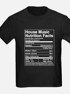House Music Nutrition Facts Kids Black T-Shirt