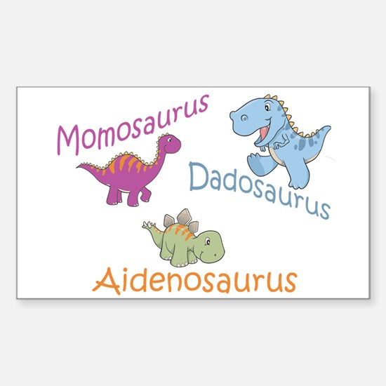Mom, Dad, & Aidenosaurus Rectangle Decal