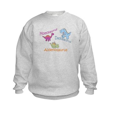 Mom, Dad, & Aidenosaurus Kids Sweatshirt