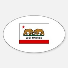 California Gay Marriage Oval Sticker (10 pk)
