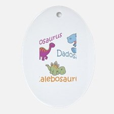 Mom, Dad, & Calebosaurus Oval Ornament