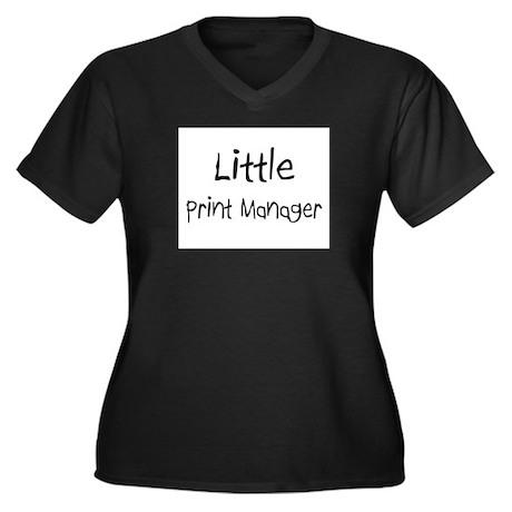 Little Print Manager Women's Plus Size V-Neck Dark