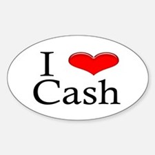 I Heart Cash Oval Decal