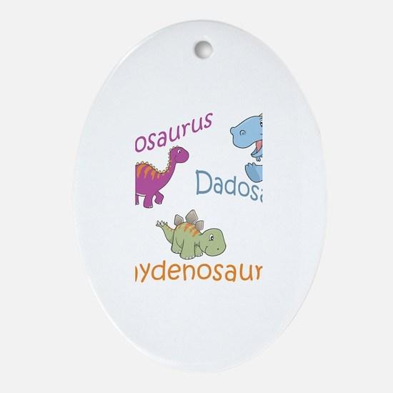 Mom, Dad, & Jaydenosaurus Oval Ornament