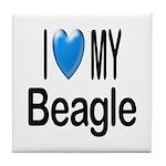 I Love My Beagle Tile Coaster