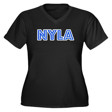 Retro Nyla (Blue) Women's Plus Size V-Neck Dark T-