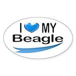 I Love My Beagle Oval Sticker