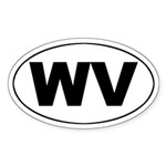 WV (West Virginia) Oval Sticker