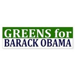 Greens for Barack Obama bumper sticker