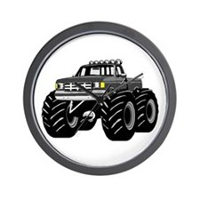 GRAY GREY MONSTER TRUCKS Wall Clock