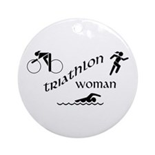 Triathlon Woman Ornament (Round)