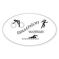 Triathlon Woman Oval Decal