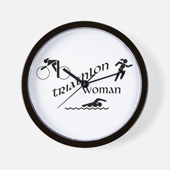 Triathlon Woman Wall Clock
