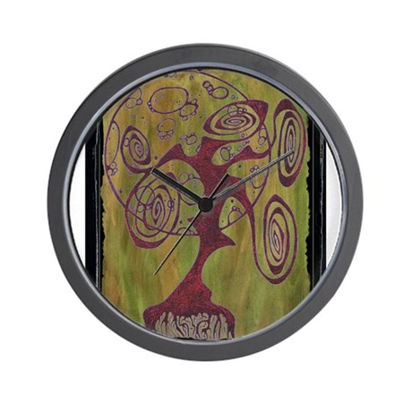 Red Tree Of Life Wall Clock