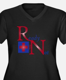 RN Ready or Not Women's Plus Size V-Neck Dark T-Sh