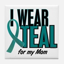 I Wear Teal For My Mom 10 Tile Coaster