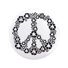 """Black Recycle Peace 3.5"""" Button"""