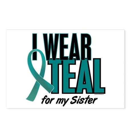 I Wear Teal For My Sister 10 Postcards (Package of