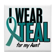 I Wear Teal For My Aunt 10 Tile Coaster