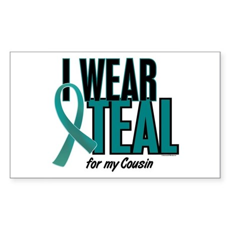 I Wear Teal For My Cousin 10 Rectangle Sticker