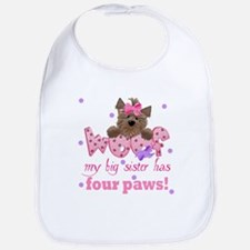 Big sister has four paws Baby Infant Toddler Bib