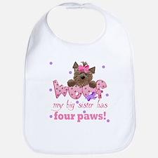 Big sister has four paws Baby Infant Toddler Bib