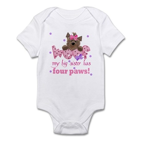 Big sister has four paws Baby Infant Bodysuit