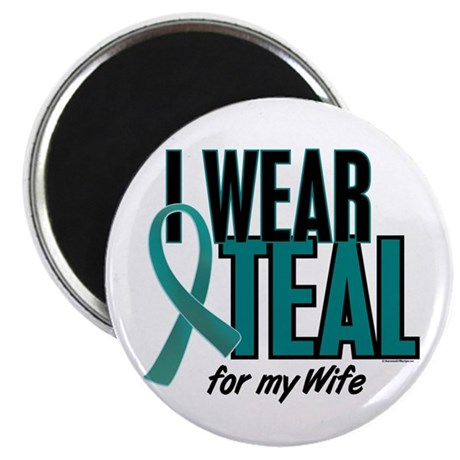 """I Wear Teal For My Wife 10 2.25"""" Magnet (10 pack)"""