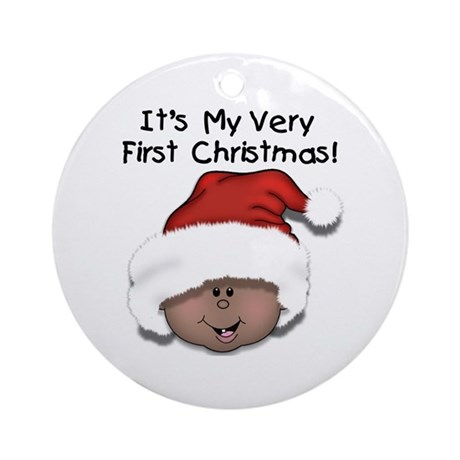 African American Baby's 1st Christmas Ornament (Ro