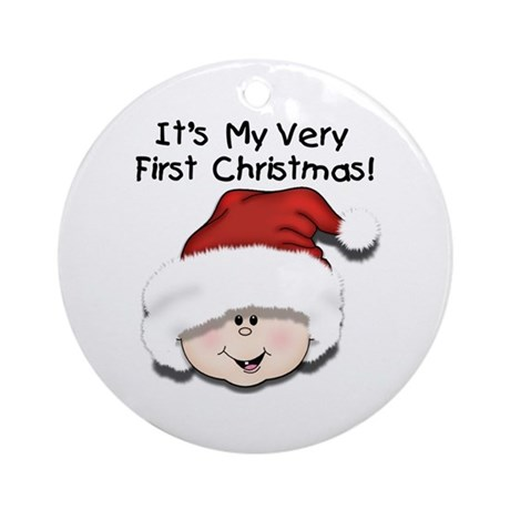 White Baby 1st Christmas Ornament (Round)