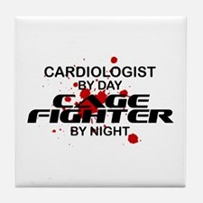 Cardiologist Cage Fighter by Night Tile Coaster
