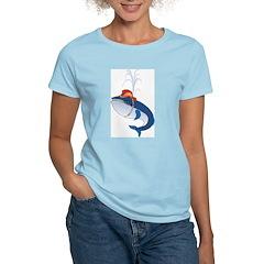 Firefighting Whale Women's Pink T-Shirt