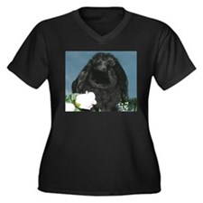 Black Velvet Women's Plus Size V-Neck Dark T-Shirt