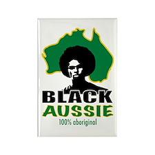 Black Aussie Rectangle Magnet