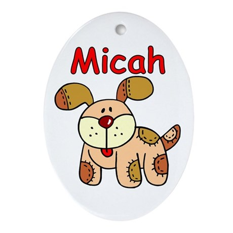 Micah Puppy Oval Ornament