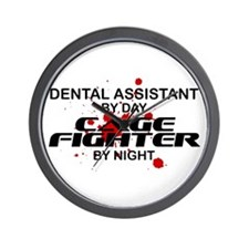 Dental Asst Cage Fighter by Night Wall Clock