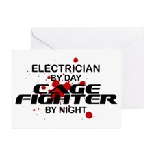 Electrician Cage Fighter by Night Greeting Cards (