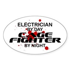 Electrician Cage Fighter by Night Oval Decal
