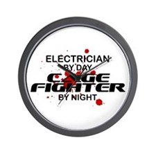 Electrician Cage Fighter by Night Wall Clock