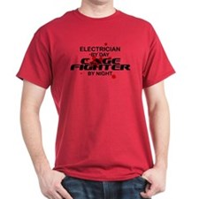 Electrician Cage Fighter by Night T-Shirt