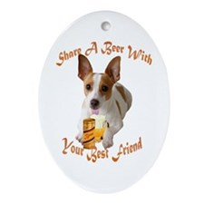 Rat Terrier Shares A Beer Oval Ornament