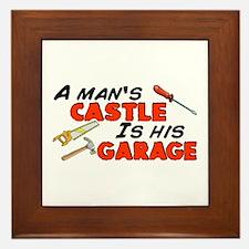A man's castle garage Framed Tile